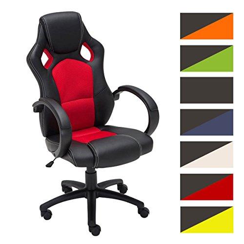 CLP Gaming Bürostuhl FIRE mit Kopstütze | Drehstuhl verfügt über Wippfunktion und Armlehnen | Schreibtischstuhl mit Kunstlederbezug erhältlich Rot