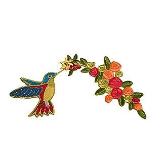 altotux Gold Blume Kolibri Aufkleber Hummingbird selbstklebenden Eisen auf Aufnäher Patch