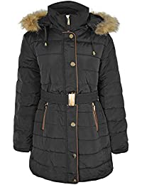 806c67bceb Fashion Thirsty Ladies Womens Plus Size Fur Hooded Winter Coat Quilted  Padded Puffa Parka Jacket