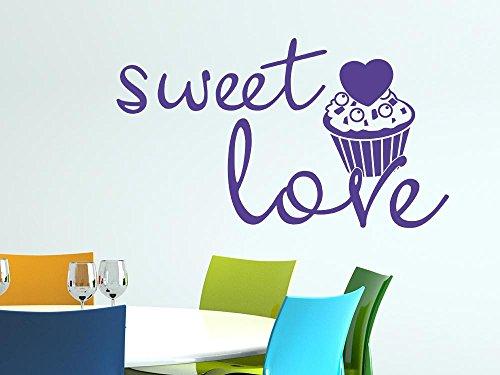 Graz Design Wandtattoo sweet Love | Sprüche für Küchen-Wände | Wand-Aufkleber als Deko für Esszimmer - Cafeteria - Bäckerei | auf Schränke - Fliesen - Möbel | Küchenfliesen Küchendeko (100x57cm // 958 baby doll)