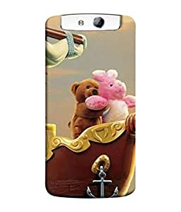 PrintVisa Designer Back Case Cover for Oppo N1 (Cartoon Freedom Romantic Brown Pink Gold Water Backcase)