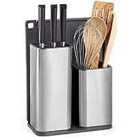 VonShef - Soporte para utensilios de cocina con tabla de cortar - Organizador de accesorios - Organizador de encimera - Cesta de almacenamiento para cocina