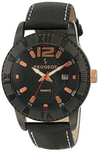 Peugeot Men's 2037BK Analog Display Japanese Quartz Black Watch