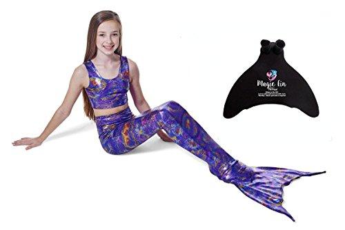 planet-mermaid-meerjungfrauenflosse-kostm-fr-kinder-zum-schwimmen-mit-passendem-oberteil-und-monoflo