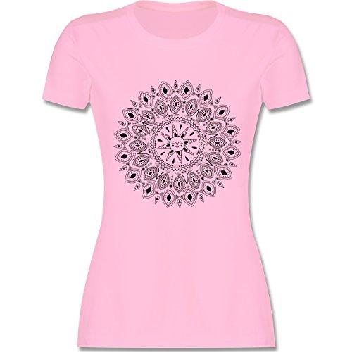 Boheme Look - Boho Mandala Yoga Sketch - L - Rosa - L191 - Tailliertes Tshirt für Damen und Frauen T-Shirt