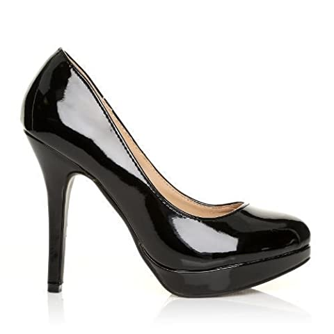 EVE Black Patent PU Leather Stiletto High Heel Platform Court Shoes Size UK 5 EU 38