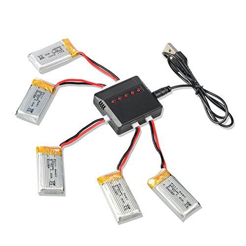 Yacool ® Hubsan X4 H107 H107l H107c H107d Rc Quadcopter Ersatzteile 5pcs 3,7 V 380mAh Li-PO Batterie und 1 bis 5 Balance Charger - 2