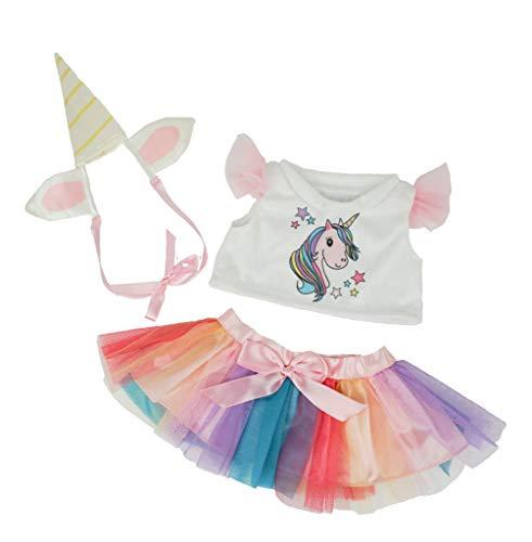 Ours To Do Un Ours. Une Histoire. Set Einhorn aus Tüll Regenbogen 40 cm Kleidung für Teddybär, Puppen, ()