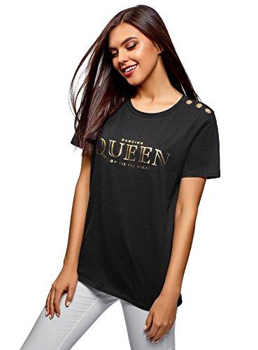 oodji Ultra Damen Gerade Geschnittenes T-Shirt mit Zierknöpfen, Schwarz, DE 42 / EU 44 / XL