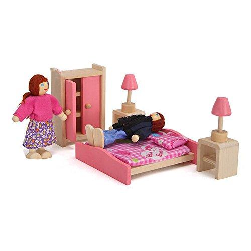 Puppenhaus Möbel & Baby Finger Dolls - Kootk Möbel Set handgemachte Holz DIY Dollhouse für Kinder Spielzeug Geburtstag Weihnachten Ostern Geschenk