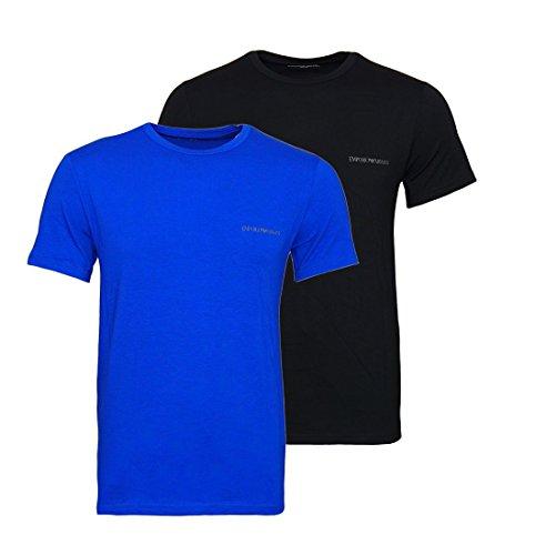 Emporio Armani Herren T-Shirt mit Rundhals-Ausschnitt 7P717111267 39920 Black/Electric Blue