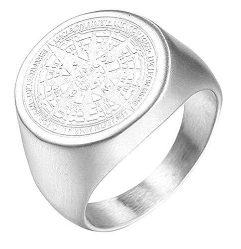 HIJONES Herren Retro Geheimnisvoll Kompass Ring aus Edelstahl Silber Größe 57