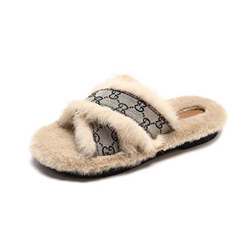 OMFGOD Slippers Damen Baumwolle Hausschuhe Winter Home Innen Warm Non-Slip Komfortable Silent Boden- Schuhe, 40, Ribbon Beige
