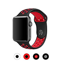 Zoneyila For Apple Watch Band,38mm Soft Silicone Replacement Band With Ventilation Holes For Apple Watch Series 3 Series 2, Series 1,sport, Edition, Ml Size(38mm, Blackred)