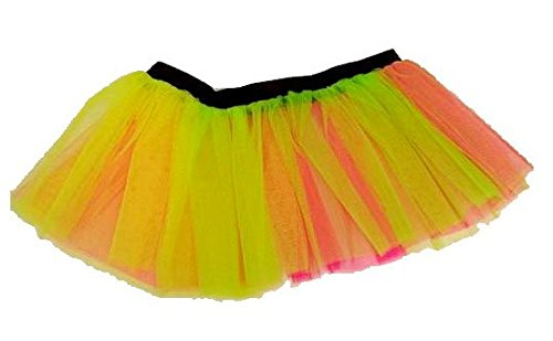 Neon Multicoloured Skirt (size 8-14)  A very colourful, cheerful skirt with elasticated waist which is perfect for 80s dress-up, carnivals, fun runs etc.