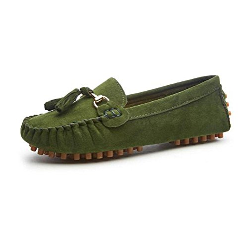 WYWQ 2018 scarpe primavera nuovi piselli donna piatto con testa rotonda confortevole scarpe pigro piatto green