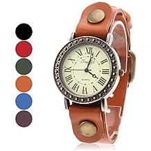Relojes Hermosos, Los números romanos estilo reloj de pulsera de cuero de las mujeres del análogo de cuarzo (colores surtidos) ( Color : Color Caqui )