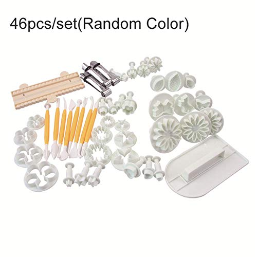 Gj Schokolade (FTFSY Sugarcraft Cake Decorating Tools Fondant Plunger Cutters Cake Tools Cookie Biscuit Cake Mold Bakeware Accessories,46pcs GJ)