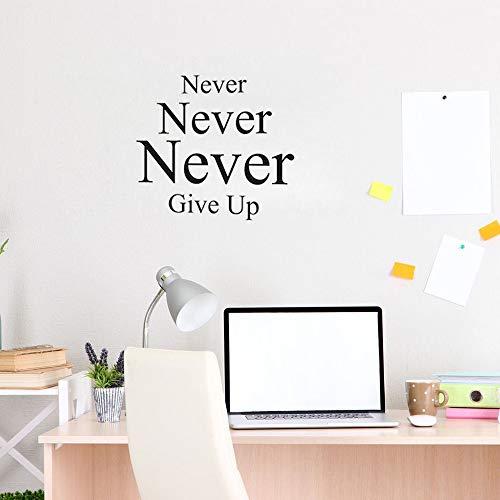 yiyiyaya Niemals aufgeben Wandaufkleber Zitat für Schlafzimmer inspirierende Worte Vinyl Wandtattoos motivierende Office Decor rot 45 X 42 cm
