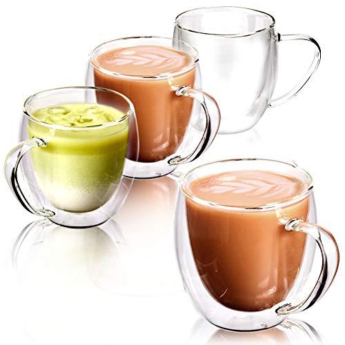 EZOWare Doppelwandige Gläser Kaffetassen Set, Isolierte Thermogläser aus Klarglas mit Griffen für Heiße oder Kalte Getränke, z.B. Kaffee, Latte, Mochiatto, Tee - 4er Set, 250 ml