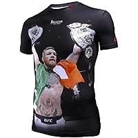 BOXEUR DES RUES Serie Fight Activewear, T-Shirt con Stampa di Conor McGregor Uomo, Nero, M