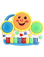 Popsugar Smiley Piano and Keyboard Musical Set with Lights for Kids