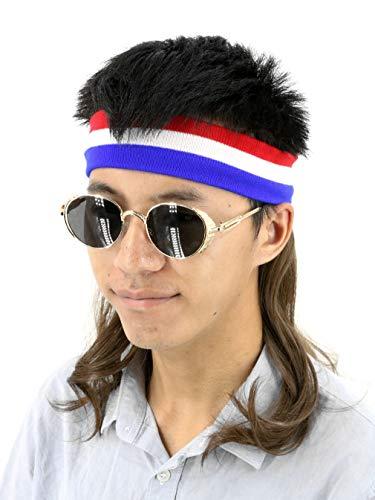 Topcosplay Vokuhila Stirnband mit Schnurrbart, Kopfband Haarband mit Haaren Blau-weiß-Rot Vokuhila Mullet Perücke Herren (Braun)