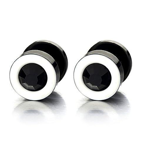 2 Weiß Schwarz Herren Damen Ohrringe Edelstahl Ohrstecker Fake Plugs Tunnel Ohr-Piercing mit 6mm Schwarz Zirkonia