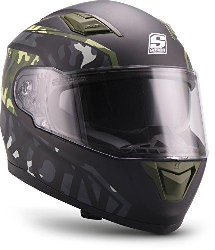 """Soxon  ST-1000 Race """"Camo""""  Integral-Helm  Motorrad-Helm Scooter-Helm Cruiser Full-face Sturz-Helm Roller  ECE zertifiziert  inkl. Sonnenvisier  Click-n-Secure Verschluss  XL (61-62cm)"""