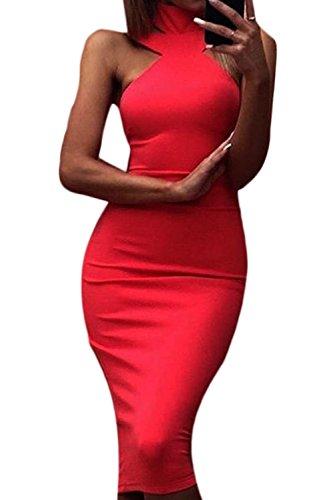 Frauen - Halter Ab Schulter Verband Bleistift Bodycon Party - Kleid Red M (Schulter-verband-kleid)