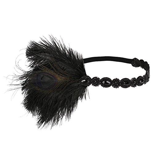 MagiDeal Indische Feder Fascinator Stirnband 1920er Stil Stirnband Gatsby Party - Schwarz