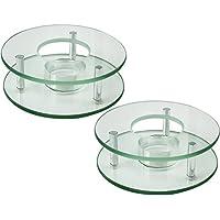 COM-FOUR® 2x calentador para teteras y cafeteras de vidrio, redondo, Ø 12,5 cm aprox. (02 piezas - vidrio)