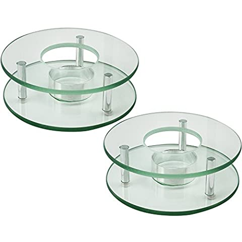 COM-FOUR® 2x Stövchen aus Glas für z.B. Teekannen, für 1 Teelicht geeignet, rund, Ø ca. 12,5