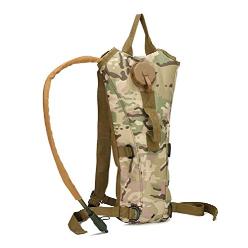 Mochila Paquete de Hidratación con 3L vejiga de agua, Mochila del Sistema de Hidratación Camelbak Bag, Paquete Táctico al aire libre para Ciclismo de Senderismo Camping (Jungle camouflage)
