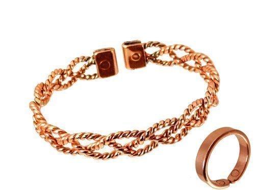 The Online Bazaar Damen Spitze-Design Magnet Kupfer und glatte Oberfläche Magnetring Kombi Set mit Präsentation Geschenkkarton - Large Ring size: 16-18mm