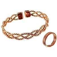 Bracciale di rame per donna design pizzo set combinata con anello e scatola di presentazione - Anello S: 16 - 18mm