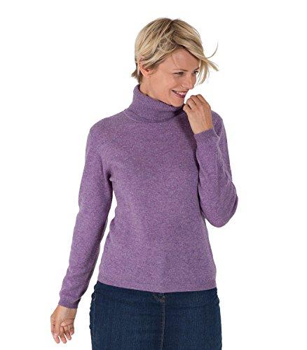 WoolOvers Figurbetonter Rollkragenpullover aus Merinowolle-Kaschmirwolle für Damen Lavender Marl, S (Cashmere-blend Sweater)