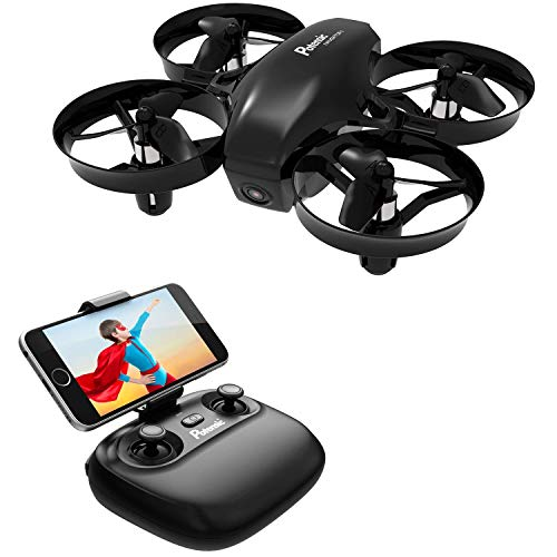 Potensic Mini Drohne mit Kamera RC Quadrocopter Drohne 2.4Ghz FPV Live Übertragung Ferngesteuerte Drohne Spielzeug Drohne für Einsteiger Auswechselbarer Akku Höhe Halten Schwerkraft- A20W Schwarz