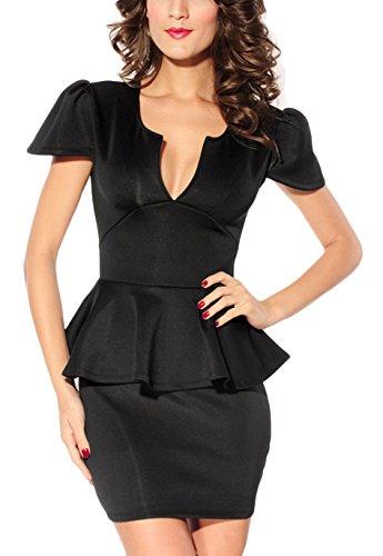 Toocool - Miniabito vestito balza donna vestitino abito moda nuovo minidress DL-779 Nero