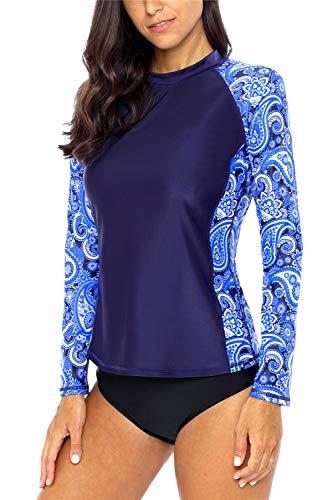 Paisley-scoop (ALove Long Sleeve Rash Guard-Badeanzug-Schwimmen-Shirts Colorblock gedruckt Uv Shirts XX-Large Paisley Marine)