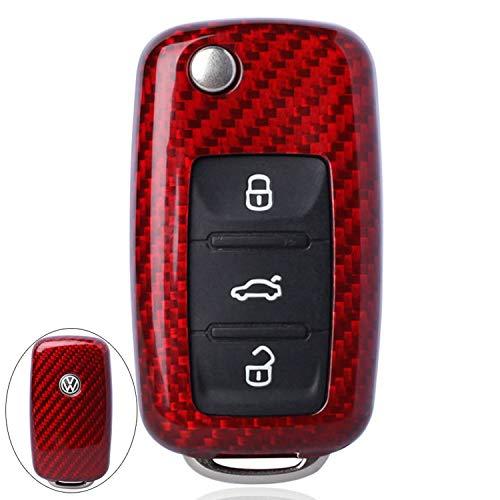 FancyAuto Kohlefaser Autoschlüssel Abdeckung Fall Halter 3 Taste Smart Remote Key Fall für Volkswagen VW Neue Sagitar Lavida Tiguan Golf Lamando(Red,Glass Fiber) (Halter Taste)