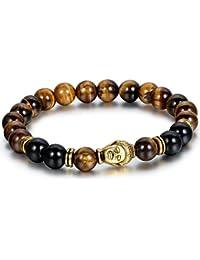 Flongo 8mm Alliage Bracelets d'énergie Lien Poignet Pièrre d'Énergie Agate Or Brun Noir Buddha Mala Boule Perle Homme,Femme