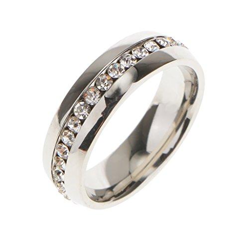 Anillo de Boda Compromiso Dedo Diamantes de Imitación Unsex Decoración Boda Color Plata US 8