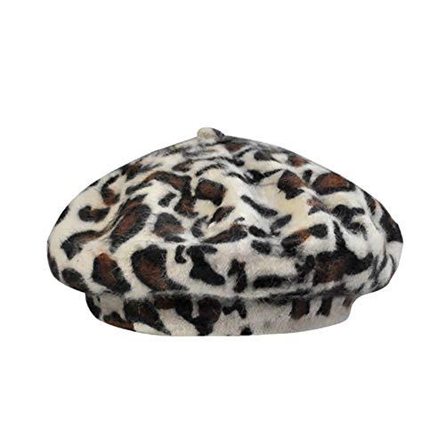 GAOXUQIANG Leopard Barett für Frauen Cheetah Leopard Print Kunstfell French Beret Hüte für Frauen Leopard Print Winter Warm Beret Beanie Cap,White,L White French Hut