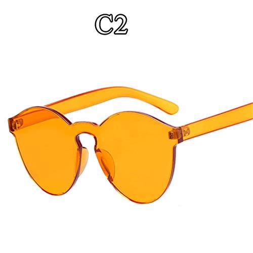 DAIYSNAFDN Einteilige Linse Sonnenbrille Frauen Transparente Plastikbrille Männer Stil Sonnenbrille C2