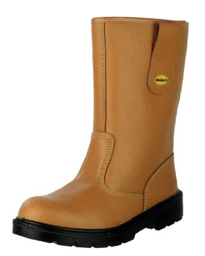 Centek Mens FS334 Leather Rigger SB Safety Boot Brown Hellbraun