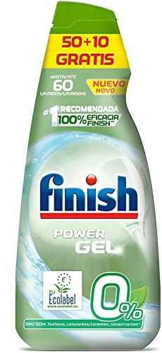 Finish 0% Gel Detergente Lavavajillas, Certificado
