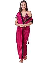 Freely Satin Color Nighty & Robe Set, Nightsuit/Nighty/Nightdress