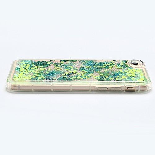 Coque iPhone 7 , E-Lush Apple iPhone 7 Liquide Sables Mouvants Etui Vert Feuille Quicksand Motif Coque cover Etui Cover Case Bling Bling Glitter Étoile Paillettes Etui Housse Souple Silicone TPU + Dur Vert