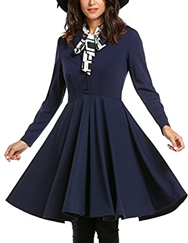Zeagoo Women Turn Down Collar Single-breasted Pleated Swing Trench Coat (X-Large, Navy Blue)